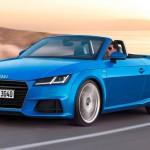 Fahraufnahme    Farbe: Arablau Kristalleffekt    Verbrauchsangaben Audi TT Roadster:Kraftstoffverbrauch kombiniert in l/100 km: 6,8 - 4,3;CO2-Emission kombiniert in g/km: 154 - 114