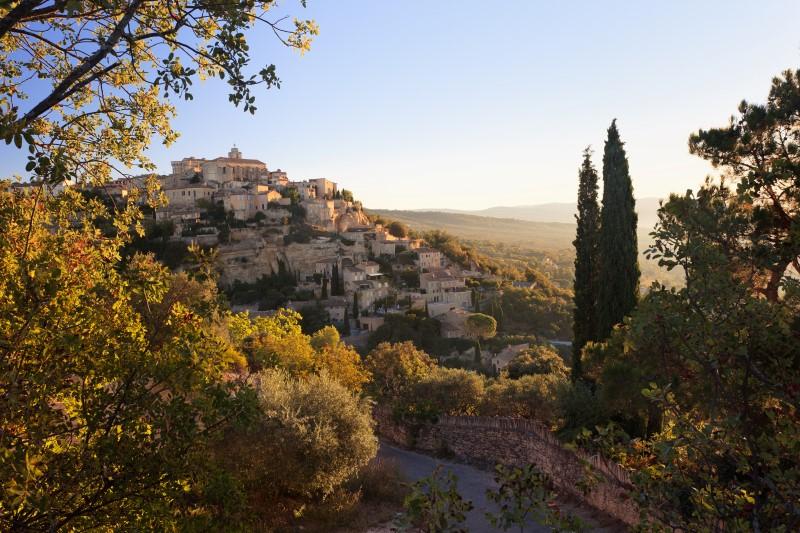Gordes medieval famous village sunrise view, Provence, France